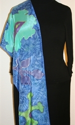 Royal Blue Silk Scarf with Big Stylized Figures in Hues of Green and Blue - photo 1