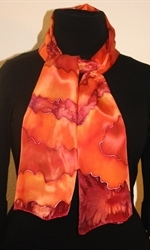 Silk Scarf with Big Figures in Burgundy, Orange and Brick - photo 1