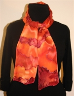 Silk Scarf with Big Figures in  Burgundy, Orange and Brick
