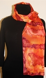Silk Scarf with Big Figures in Burgundy, Orange and Brick - photo 2