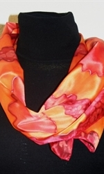 Silk Scarf with Big Figures in Burgundy, Orange and Brick - photo 3