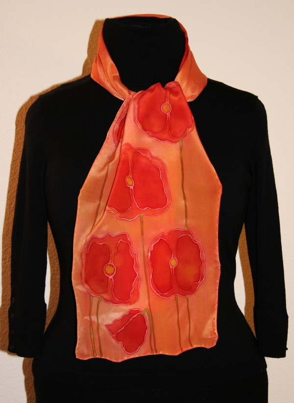 Customdesigned unique hand painted silk scarves and shawls created on  Silk Scarves Orange