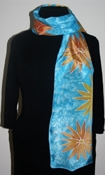Turquoise Silk Scarf with Flowers - photo 1