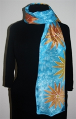 Turquoise Silk Scarf with Flowers