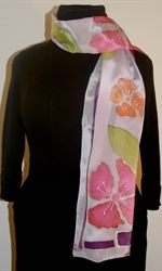 Pale Lilac Silk Scarf with Stylized Flowers in Pink and Orange - photo 1