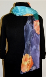 Silk Scarf in Five Hues of Blue with Orange Flowers - photo 1