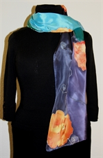 Silk Scarf in Five Hues of Blue with Orange Flowers