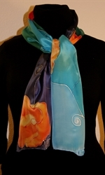 Silk Scarf in Five Hues of Blue with Orange Flowers - photo 2