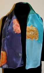 Silk Scarf in Five Hues of Blue with Orange Flowers - photo 3