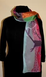Silk Scarf with Abstract Landscape in Bright Colors - photo 1