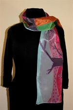 Silk Scarf with Abstract Landscape in Bright Colors