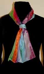 Silk Scarf with Abstract Landscape in Bright Colors - photo 2