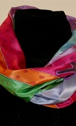 Silk Scarf with Abstract Landscape in Bright Colors - photo 3