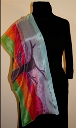 Silk Scarf with Abstract Landscape in Bright Colors - photo 4