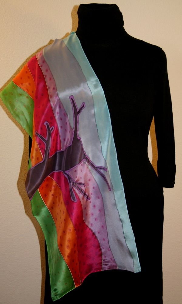abstract landscapes and trees painted on silk scarves