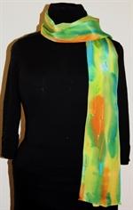 Multicolored Splash Silk Scarf in Yellow, Green and Orange