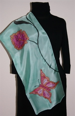 Turquoise Silk Scarf with a Butterfly and Flowers