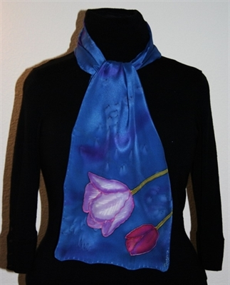 Royal Blue Silk Scarf with Tulips