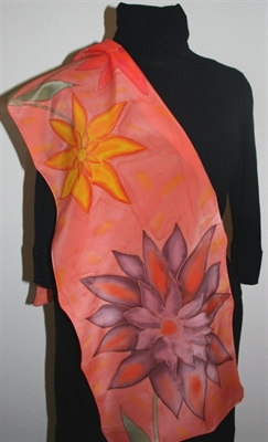 Brick Silk scarf with Big Flowers