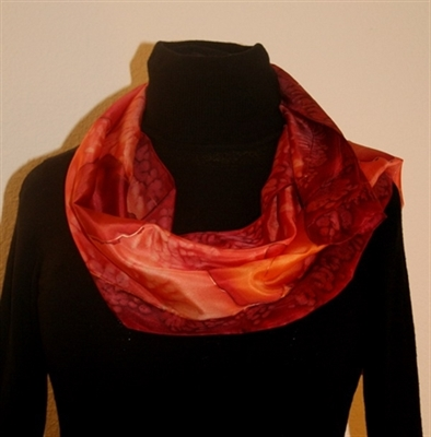 Bright Silk Scarf with Flowers in Red, Orange and Burgundy