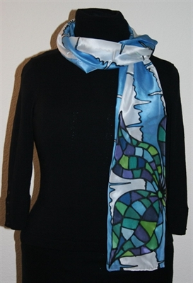 Blue-and-White Silk Scarf with Two Mosaic Flowers