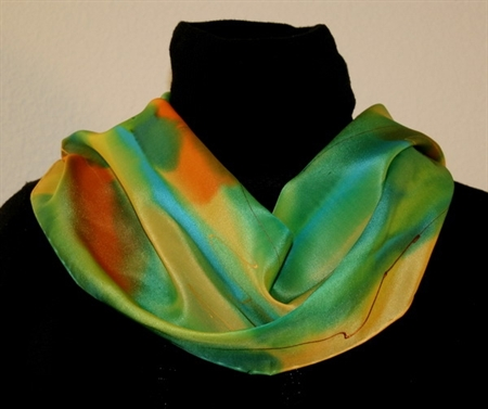 Multicolored Splash Silk Scarf in Yellow, Green and Orange