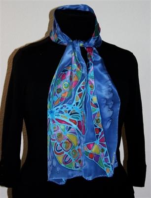 Royal Blue Silk Scarf with a Geometric Flower