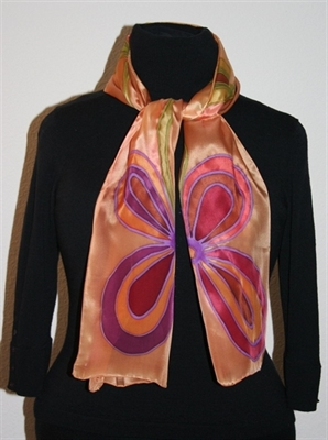Golden Silk Scarf with Two Big Stylized Flowers