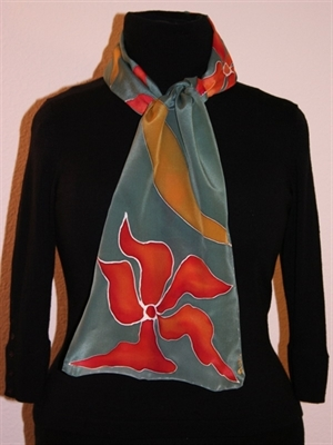 Dark Olive Silk Scarf with Flowers and Leaves