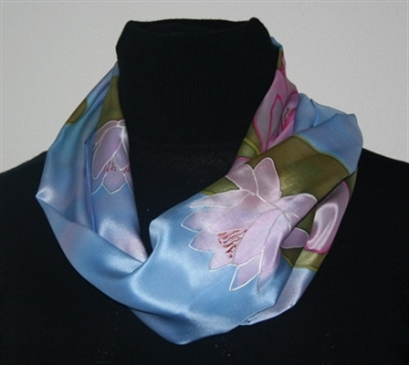 Light Blue Silk Scarf with Pink Water Lilies