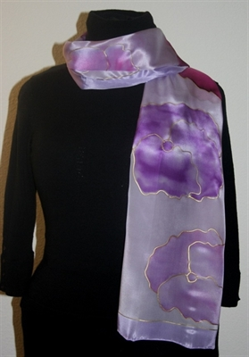Light Violet Silk Scarf with Flowers in Hues of Pink and Lilac