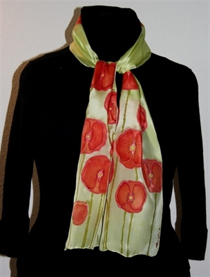 Light Green Silk Scarf with Red Poppies