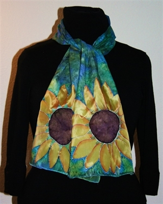 Blue-and-Green Silk Scarf with Two Sunflowers