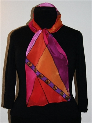 Silk Scarf with Triangles in Hues of Red, Orange and Fuchsia