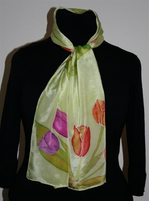 Light Green Silk Scarf with Tulips