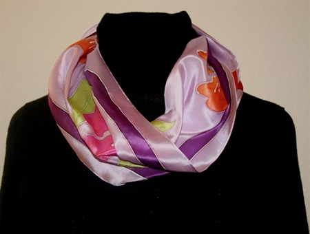 Pale Lilac Silk Scarf with Stylized Flowers in Pink and Orange