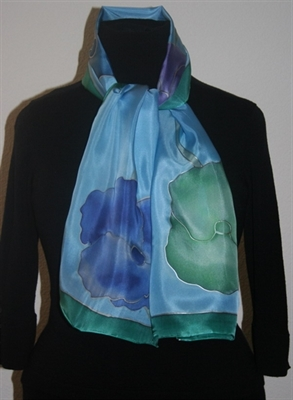 Sky-Blue Silk scarf with Flowers in Hues of Blue, Green and Purple