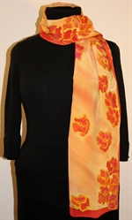 Flying Flowers Silk Scarf in Yellow and Hues of Red