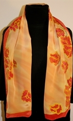 Flying Flowers Silk Scarf in Yellow and Hues of Red - photo 2