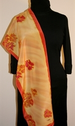 Flying Flowers Silk Scarf in Yellow and Hues of Red - photo 4
