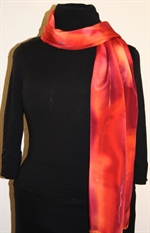 Multicolored Splash Silk Scarf in Hues of Red and Purple