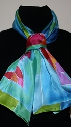 Three Fish Blue-and-Turquoise Silk Scarf - photo 3