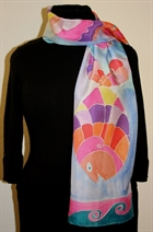 Three Fish Blue Silk Scarf