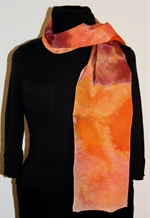 Silk Scarf with Blurred Flowers in Orange and Brownish Plum