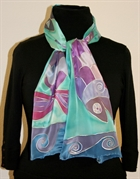 Three Smiling Fish Silk Scarf
