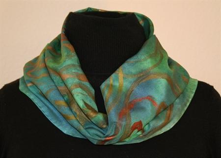 Green & Blue Colorsplash Silk Scarf with Bronze Spirals