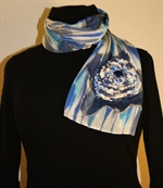 Blue and Silver Silk Scarf