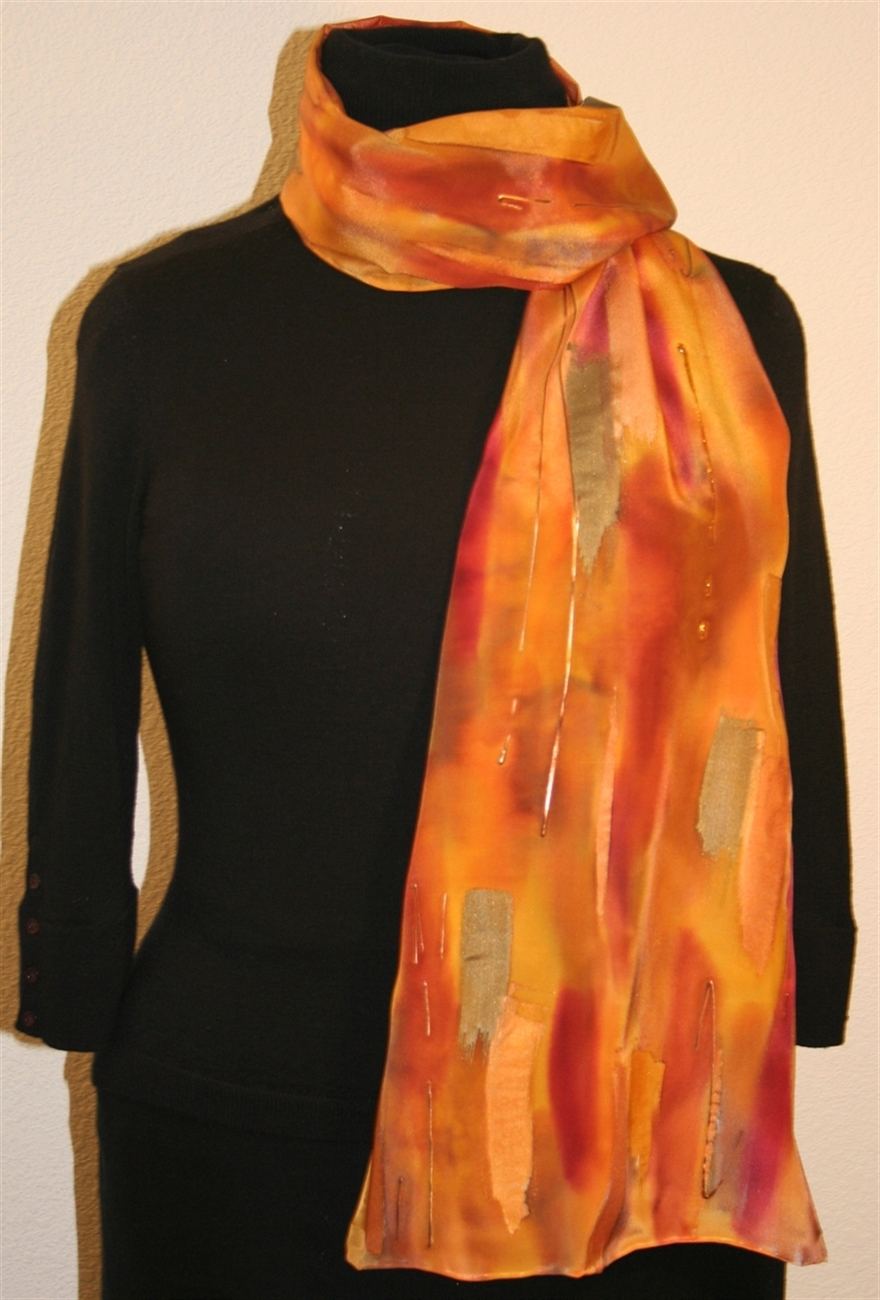 unique painted silk scarves featuring multicolored